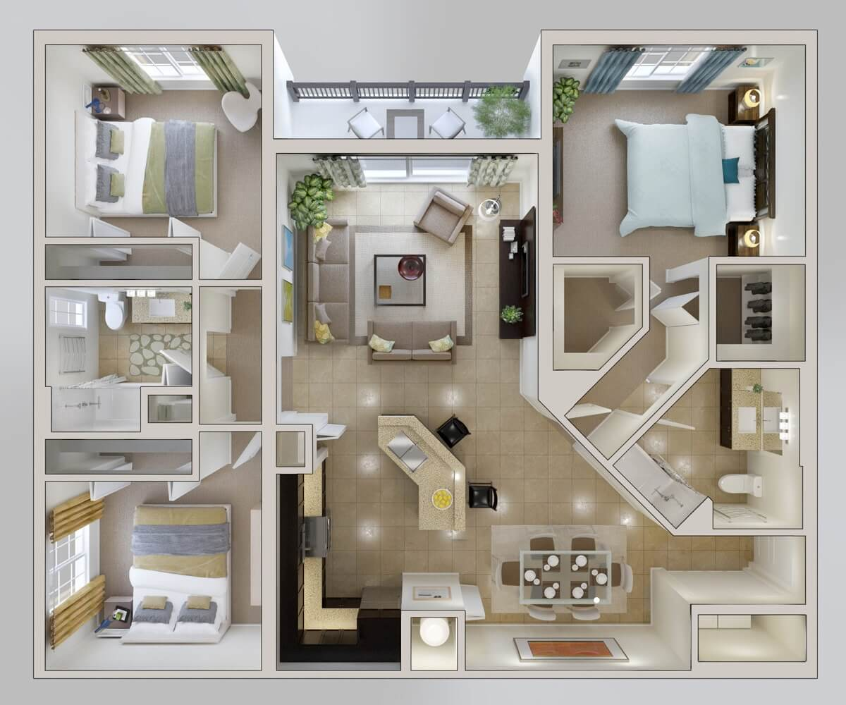 Apartment Plans Of 3 Rooms Square