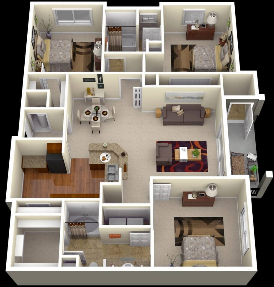 Large Apartment Plan Of Three Rooms And Large Room