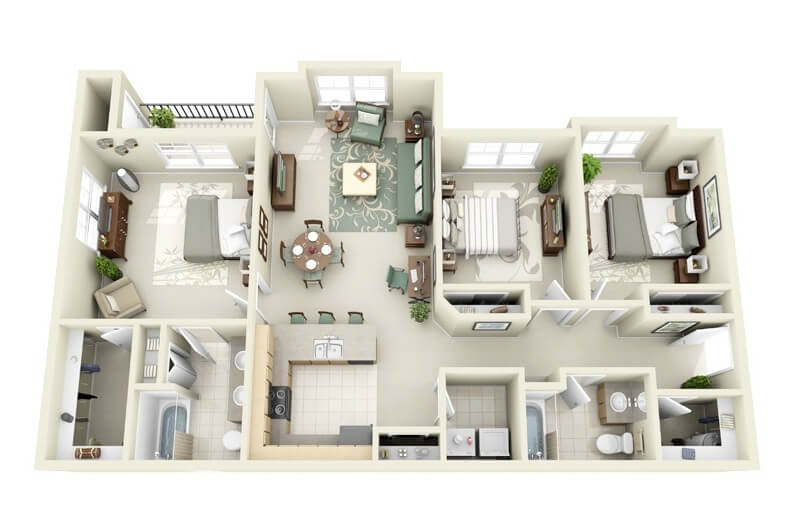 Large Three Room Apartment Plan