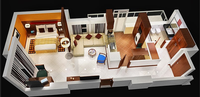 Small luxury apartment design & Small Apartment Plans and 3D Design -