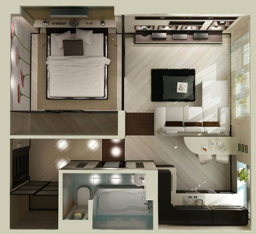 Small Square Apartment Plan