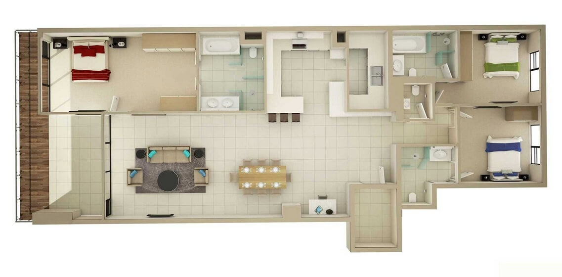 Three Room Elongated Apartment Plans