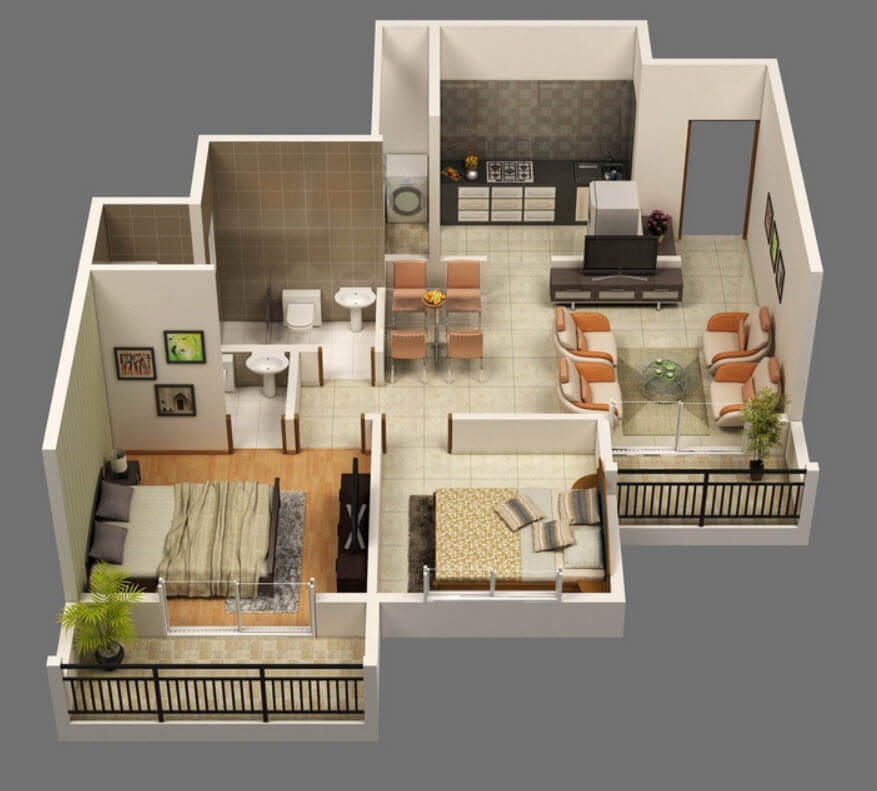 Two Bedrooms Apartment In 3D
