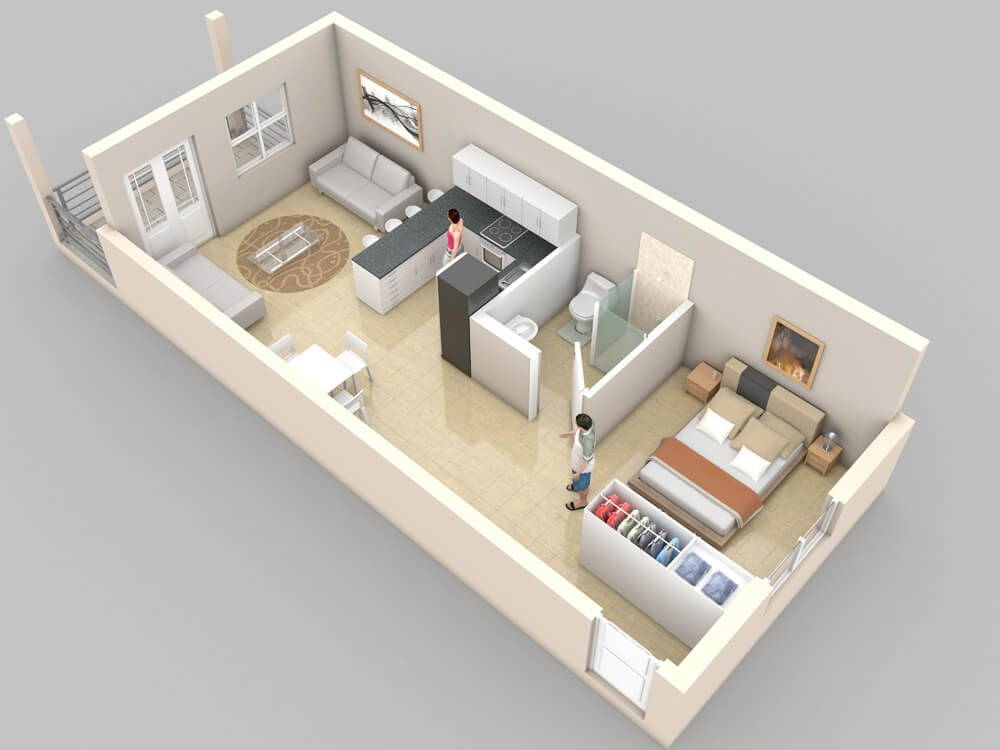 Small Apartments With Bedroom Plans Designs Simple One Bedroom Apartment Design Model