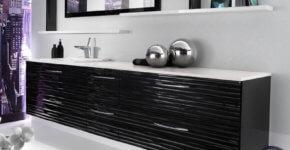 Bathroom design with black furniture