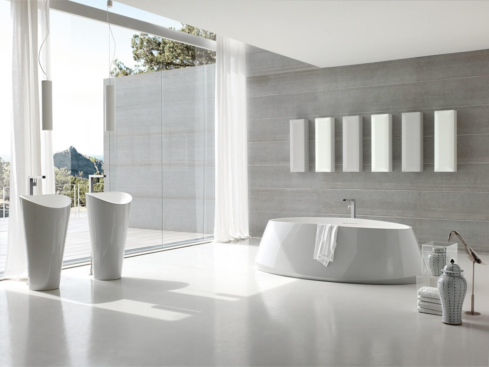 Great Modern White Marble Bathroom Design