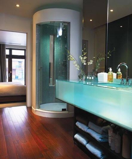 Original design of bathroom with transparent sink