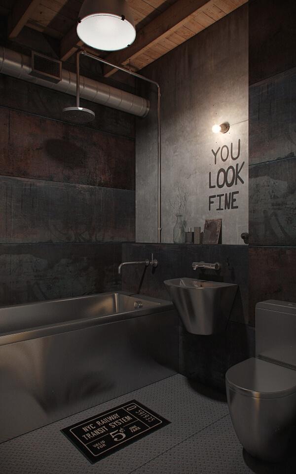Original design of industrial style bathroom with steel toilets