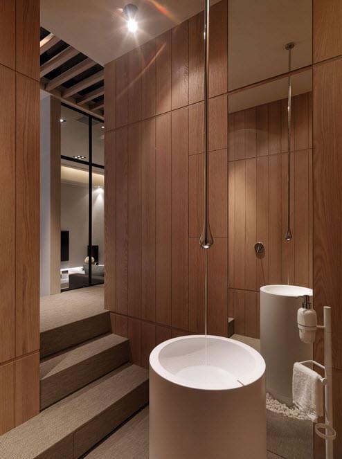 Original design of wooden bathroom
