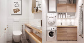 Small and simple white bathroom with wood insertions