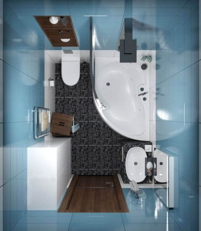 View Of Bathroom Floor With Tub And Shower
