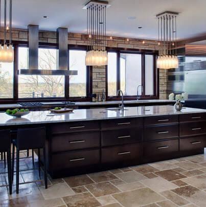 Black kitchen design with large windows