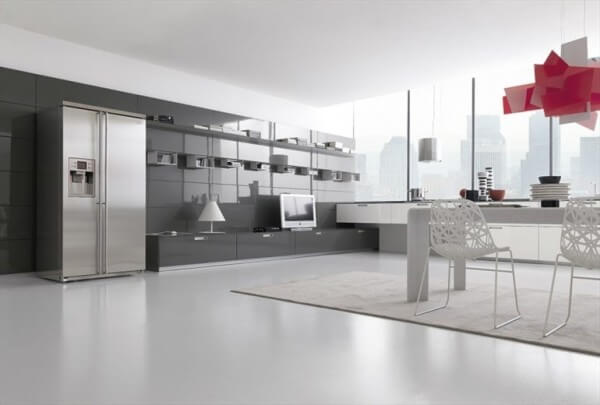 Bright gray and white kitchen design with a red lamp