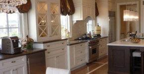 Ceramic kitchen floor in brown with design