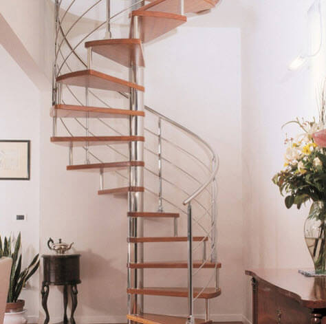 Chrome spiral staircase design