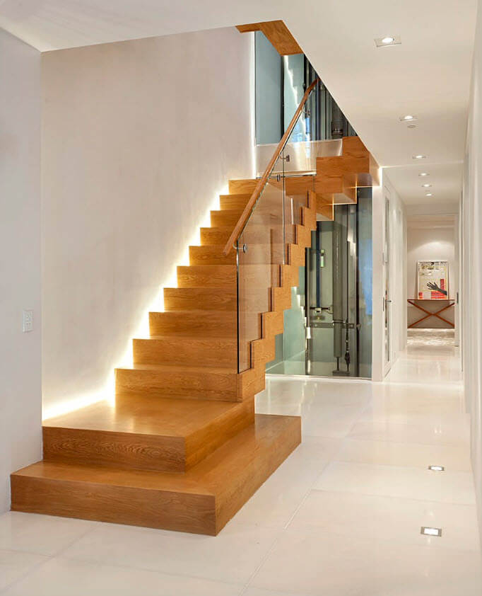 Design modern illuminated wooden stairs
