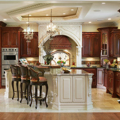 Elegant kitchen design with marble floors