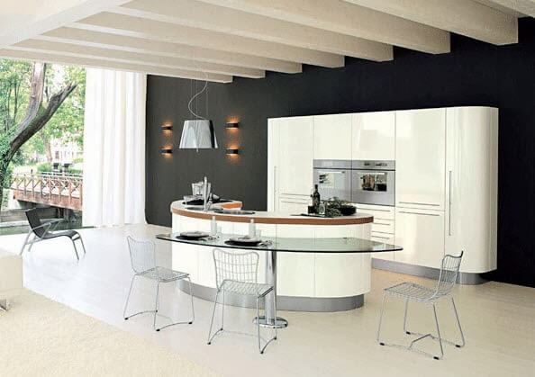 Glass kitchen island for two chairs