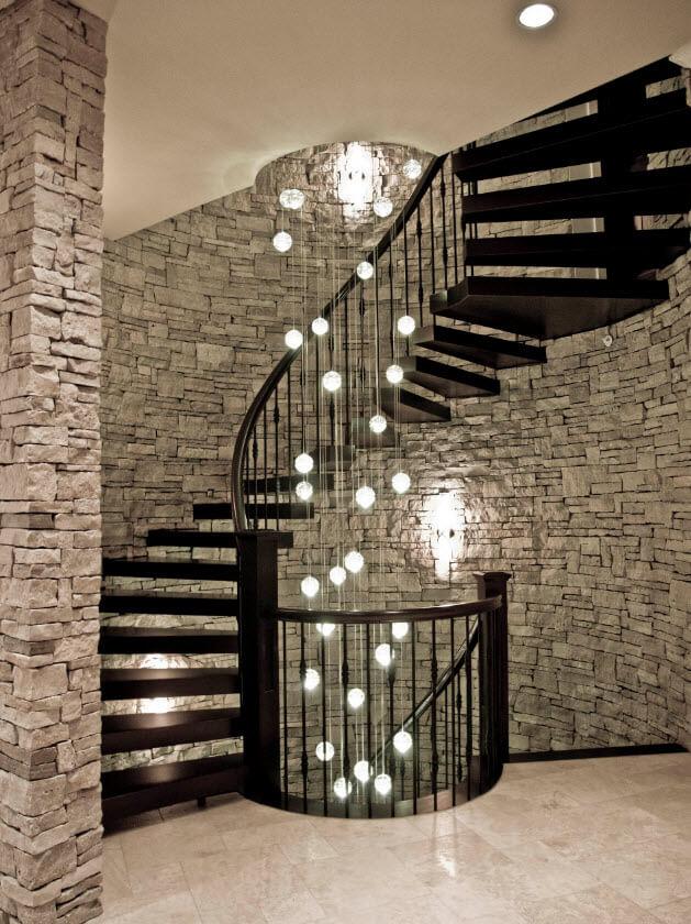 Hardwood dark circular staircase