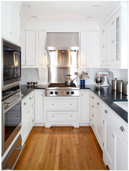 Kitchen design in white and chrome