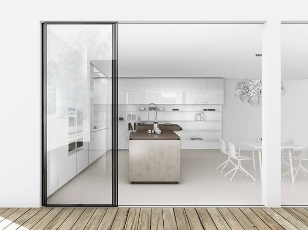 Kitchen design white minimalist walls