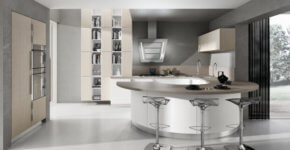 Kitchen design with circular island