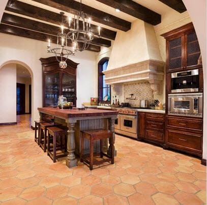 Kitchen design with hexagonal floor tile