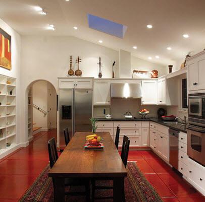 Kitchen design with red floor
