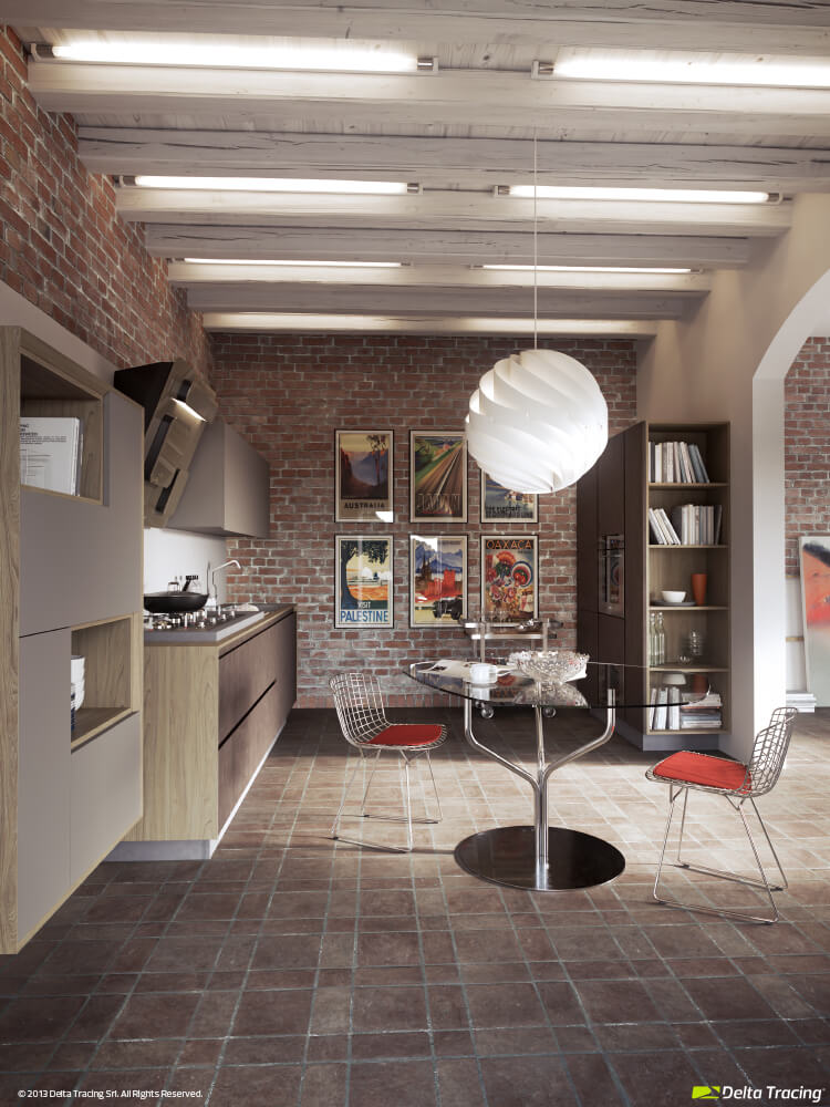 Kitchen with circular dining room lamp