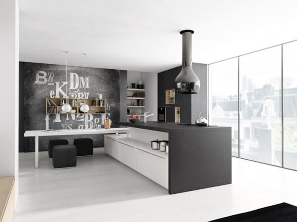 Kitchen with gray and white minimalist design