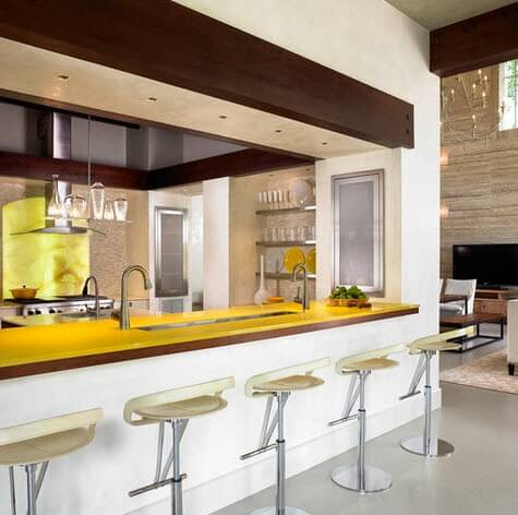 Lemon colored kitchen bar