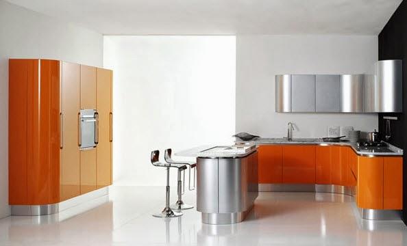 Metallic kitchen bar