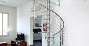 Modern design of spiral staircase with glass steps