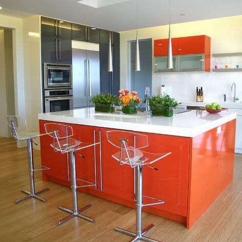 Modern kitchen and orange island