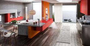 Modern kitchen design in bright pop art style