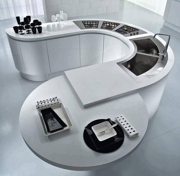 Modern oval kitchen island design