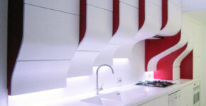 Modern white and red kitchen furniture