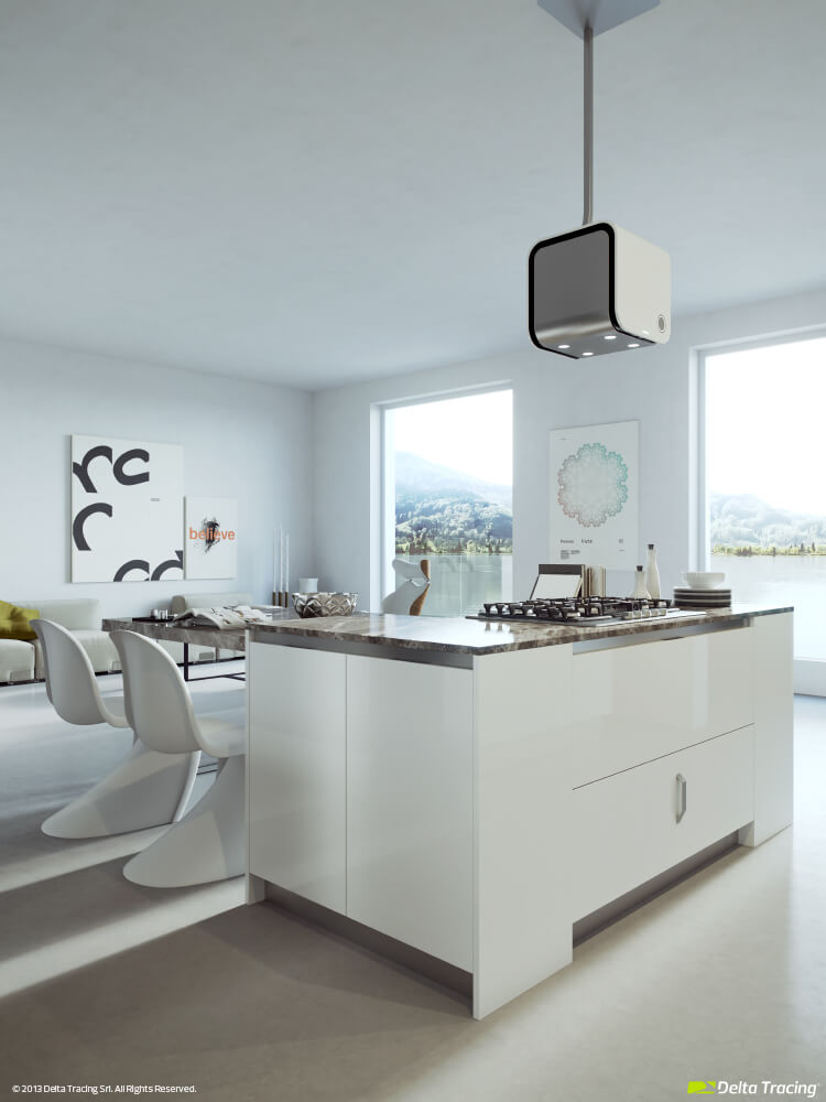 Modern white kitchen lighting