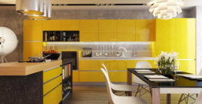 Modern yellow kitchen with black