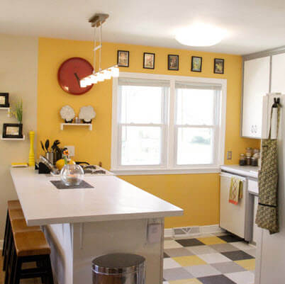 Small kitchen with colorful floors