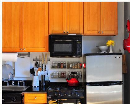 Kitchen for a mini-apartment, optimizing spaces