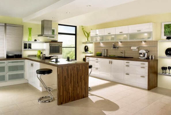 kitchen with simple island for in wood