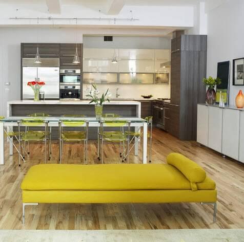 modern kitchen with a bar