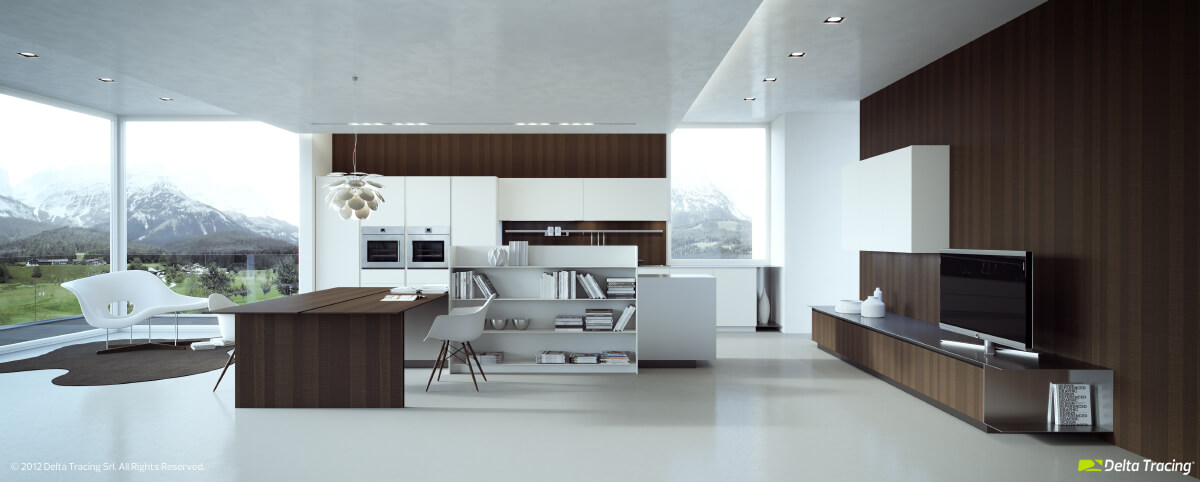 modern kitchen with well lit dining room combo