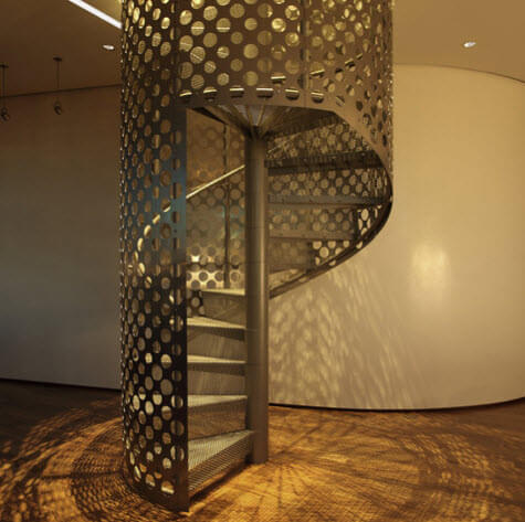 perforated metal spiral staircase design