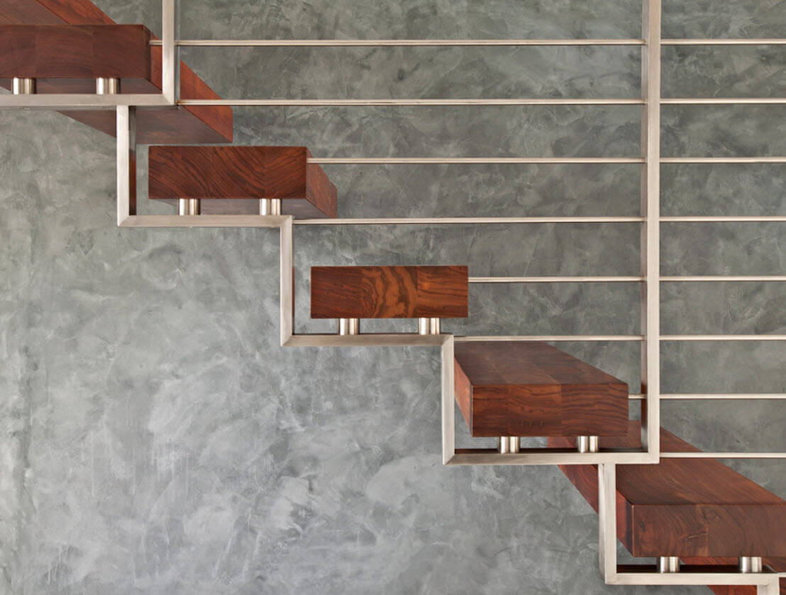 wooden steps and steel structure stairs