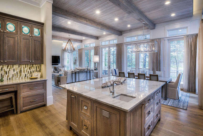 dining room with kitchen | Shiplap Dining Room Ideas