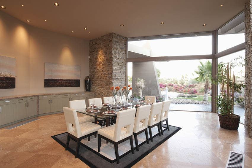 open concept dining room with recessed ceiling lights