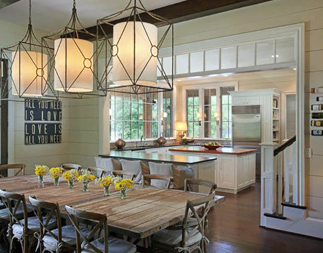 traditional dining room with wood shiplap