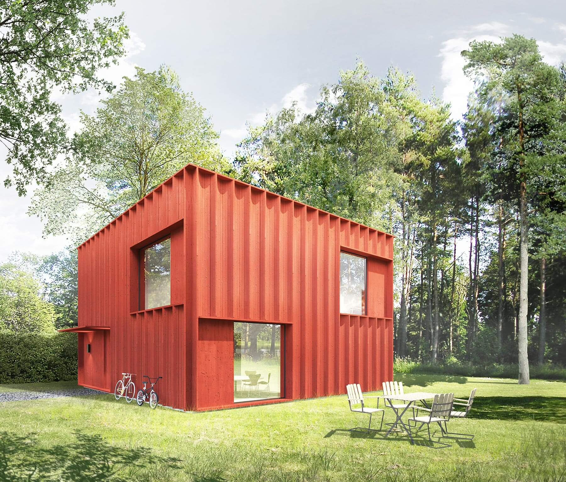 Modular style small square house design